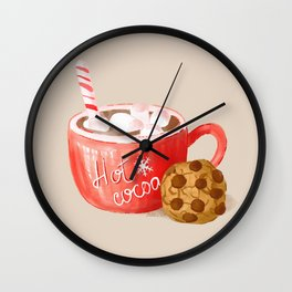 Hot Cocoa Mug and a Chocolate Chip Cookie, Retro Christmas Sweets Pattern, Hand-painted Watercolor Wall Clock