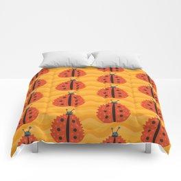 Orange Ladybug Autumn Leaf Comforters