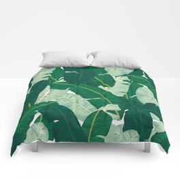 Classic Banana Leaves in Palm Springs Green Comforters