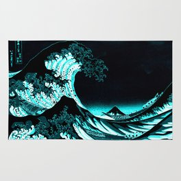 The Great Wave : Dark Teal Rug
