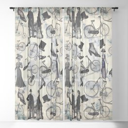 Victorian Bicycles and Fashion Sheer Curtain