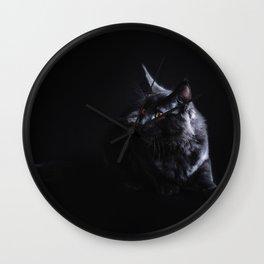 Black Maine Coon Cat Wall Clock