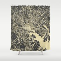 baltimore Shower Curtains featuring Baltimore map by Map Map Maps