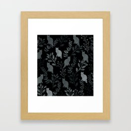 Watercolor Floral and Cat III Framed Art Print