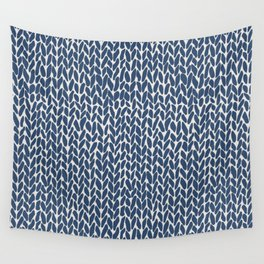 Hand Knit Navy Wall Tapestry