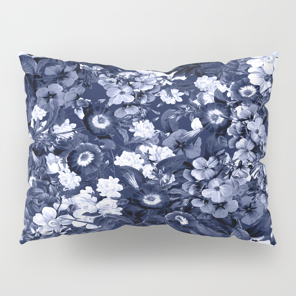 Bohemian Floral Nights In Navy Pillow Sham by Naturemagick PSH7123035