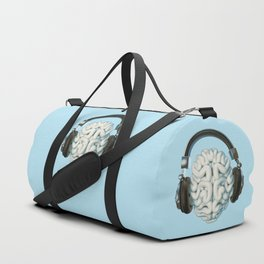 Mind Music Connection /3D render of human brain wearing headphones Duffle Bag
