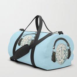 Mind Music Connection /3D render of human brain wearing headphones Duffle Bag