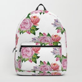 Botanical hand painted pink orange watercolor floral Backpack
