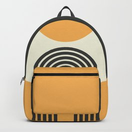 Geometric Lines in Gold and Black 2 (Rainbow and Sunrise Abstract) Backpack