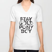 stay gold V-neck T-shirts featuring Stay Gold by Lucas Young