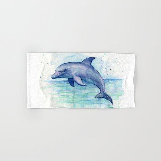 Dolphin Watercolor Sea Creature Animal Hand & Bath Towel