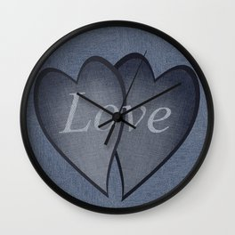 Hearts with background - denim photocollage Wall Clock