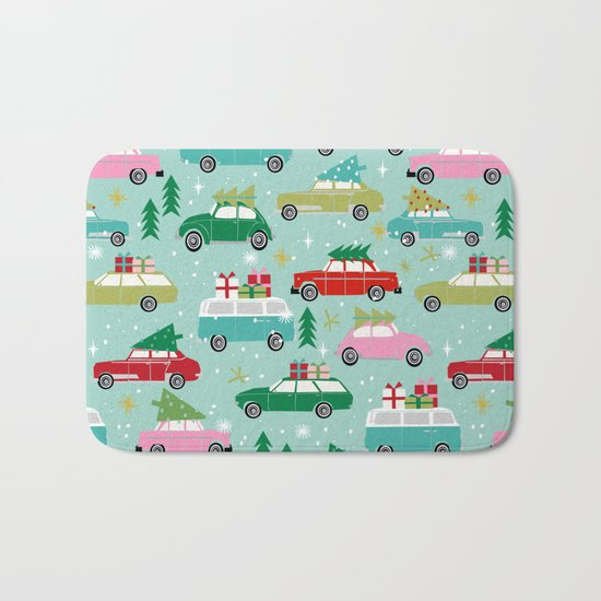 Vintage Christmas cars festive holiday traditions snow winter snowflakes classic car pattern Bath Mat