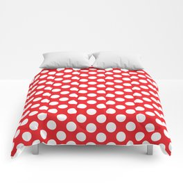 White Polka Dots with Red Background Comforters