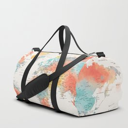 """Explore"" - Colorful watercolor world map with cities Duffle Bag"