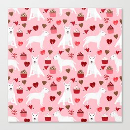 Bull Terrier white valentines day cupcakes hearts dog breed pet friendly dog gifts bull terriers Canvas Print