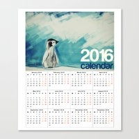 calendars Canvas Prints featuring 2016 Calendar Baby Penguin by a collection. James Peart