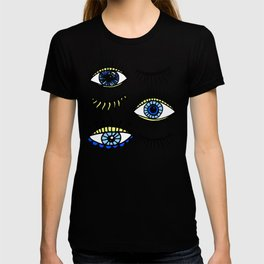 Evil Eyes Blue Yellow Lucky Charm Symbol T-shirt