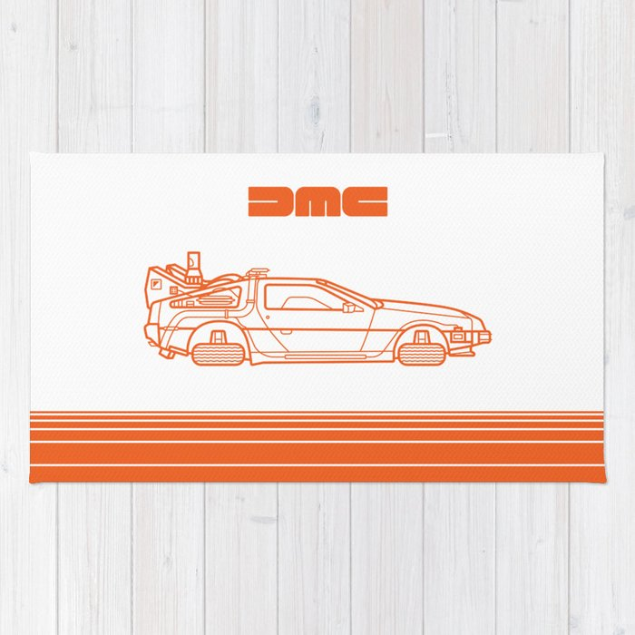 Back To The Future - Delorean - Stroke Rug
