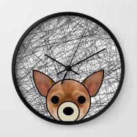 chihuahua Wall Clocks featuring Chihuahua by lllg