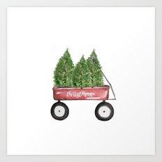 Christmas wagon Art Print