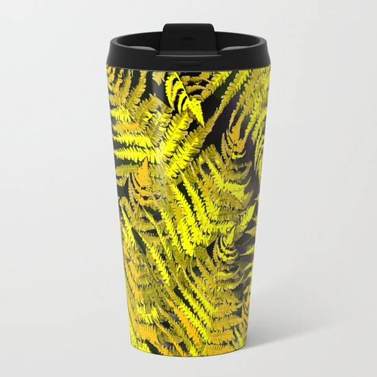 Ferns on a black background - #society6 #buyart Metal Travel Mug