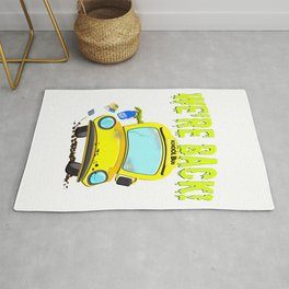 Funny Back To School Monster Bus for Students Rug