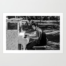 Piano player in the Parc Art Print