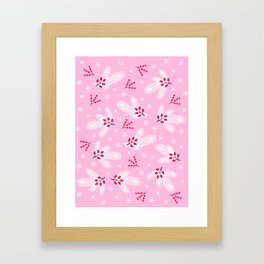 Pine branches, snowflakes and berries on pink Framed Art Print
