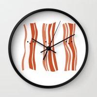 bacon Wall Clocks featuring Bacon! by Sara Showalter