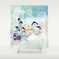 mushroom Shower Curtains featuring mushroom by ARTION
