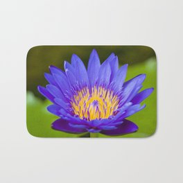 Violet and Yellow Water Lily Flower - Nature Photography Bath Mat