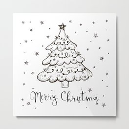 Snowing Christmas Tree Design. Metal Print