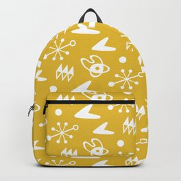 Mid Century Modern Atomic Boomerang Pattern Mustard Yellow Backpack
