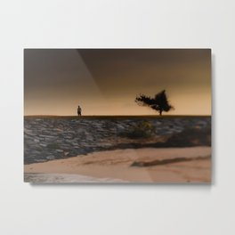 Tilt Shift Seaside Tree, Beach, Rocks, Man Metal Print