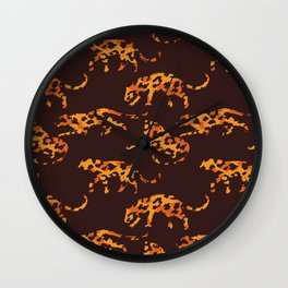 Trendy brown orange yellow modern safari leopard animal print Wall Clock