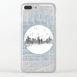 Chicago, Illinois City Skyline Illustration Drawing Clear iPhone Case