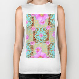 Delicate French Style Aqua Pink Wild Rose Gold Jewelry Abstract Biker Tank
