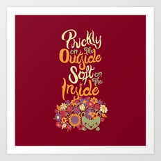 Prickly On The Outside Soft On The Inside Hedgehog Flower Art Print