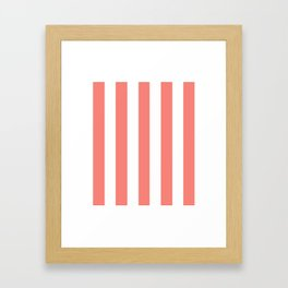 Congo pink - solid color - white vertical lines pattern Framed Art Print