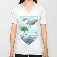 ballon V-neck T-shirts featuring Ballon Skyline by The Film Guy