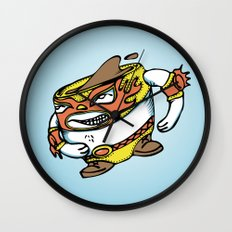 The flying luchador mug of coffee Wall Clock