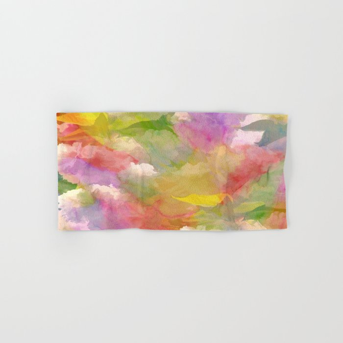 Rainbow Watercolor Floral Abstract Hand & Bath Towel