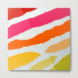 Ripped Torn Tattered Paper Gradient Bold Rainbow Colors Metal Print