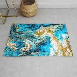 Abstract blue marbled paper Rug
