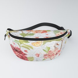 Pattern flowers with orange duck Fanny Pack