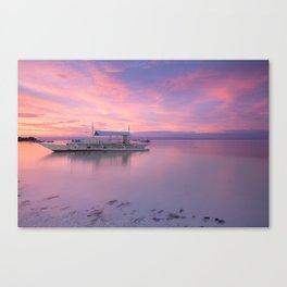 Amazing colourful sunset over the beach, Philippines Canvas Print