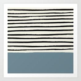 Dusty Blue x Stripes Art Print