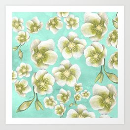 Blue, yellow and white flowers Art Print